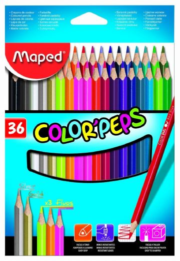MAPED COLOR'PEPS COLOURING PENCILS - Wallet of 36